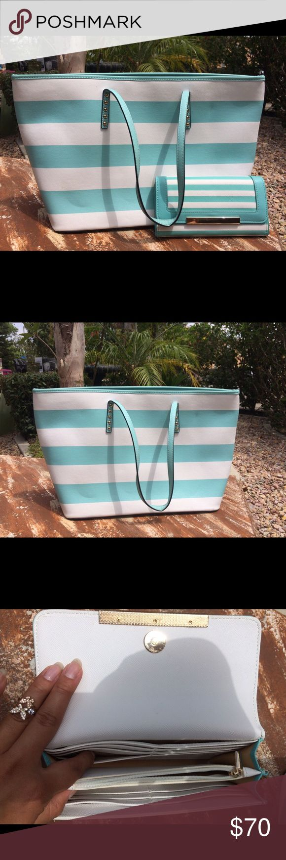 Aldo tote & matching wallet Like new, (Tiffany and co color) stripe tote bag. Both the wallet and purse are in great condition! Aldo Bags Totes