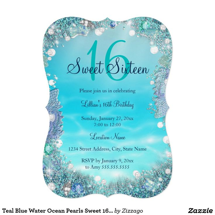 Teal Blue Water Ocean Pearls Sweet 16 Party 5x7 Paper Invitation Card