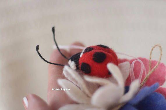 Needle felted  ladybug brooch