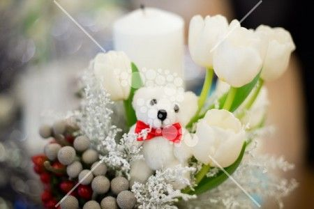 Candle with tulips and a small bear #tulip #white