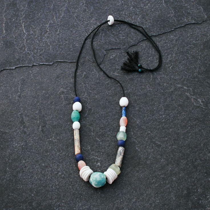 Dessert Sands Artisan Ceramic Necklace/ handmade porcelain beads/ mixed gemstones/ vintage clay pipe/ modern boho/ ethnic style/ unique gift by CopperLarkStudio on Etsy