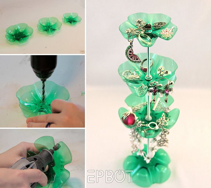 How to make plastic bottle jewelry stand diy crafts for Waste to wealth craft ideas