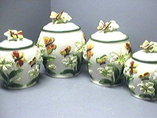 Butterfly Kitchen Canisters Butterfly 3 D Butterflies Canisters Set Of 4 3d New