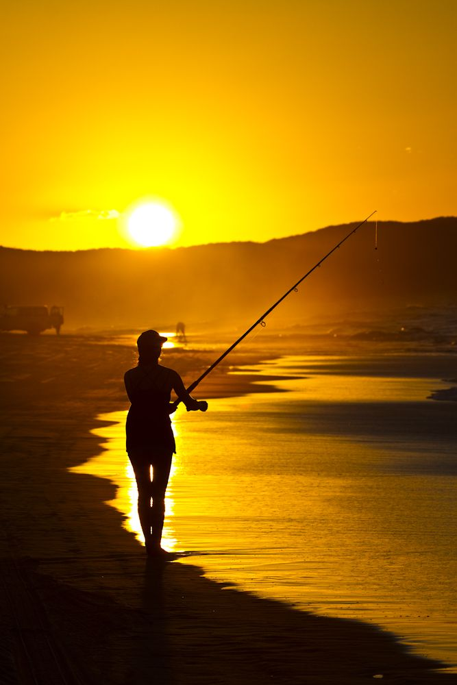 Fishing at sunset on Fraser Island #sunset #travel #fishing