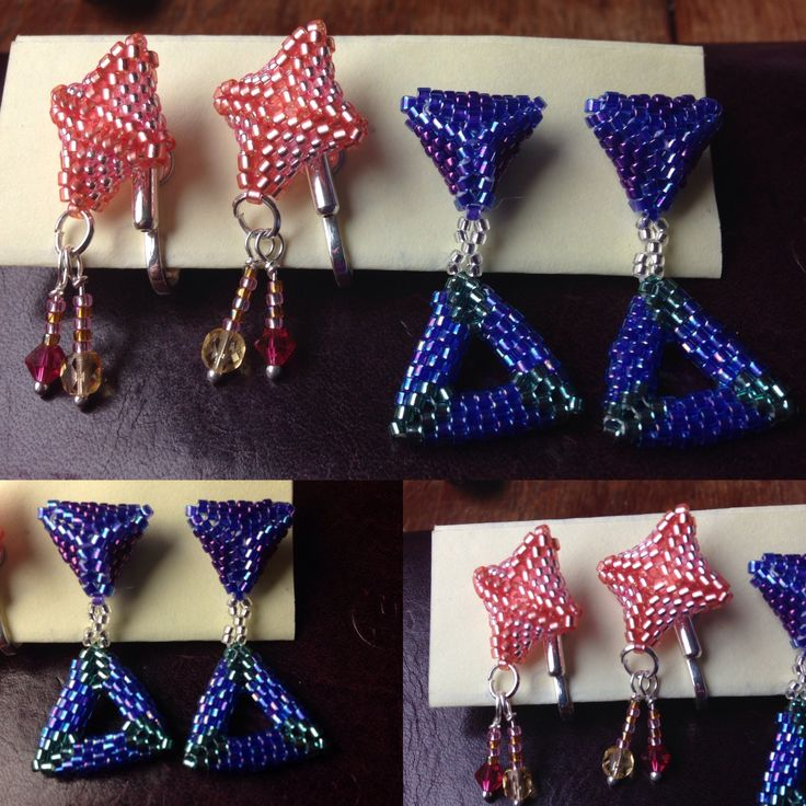 3D peyote stud/clip on earrings. 11/0 delicas and 15/0 seed beads