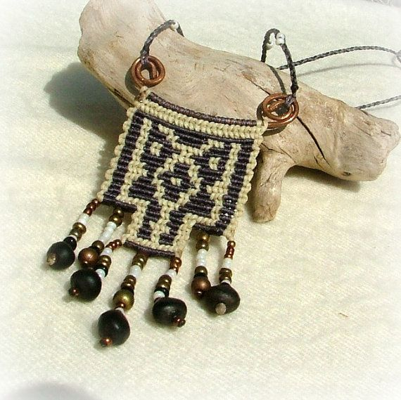 Native american micro macrame necklace -grey and white with hand forged copper spiral