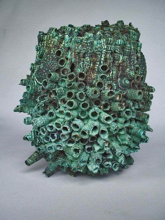 John Mawhinney, ceramic form, Copper glaze treated with hydrochloric acid, Northern Rivers Visual Arts Network, Australia