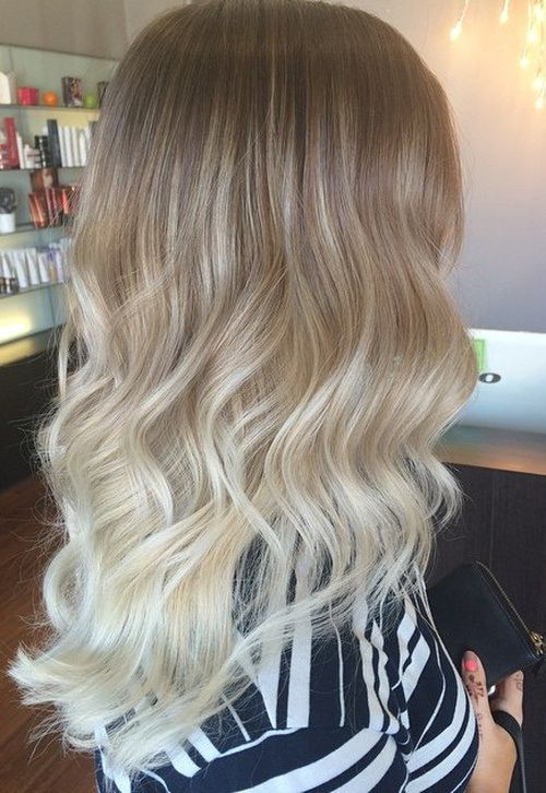 brown to pale blonde ombre hair