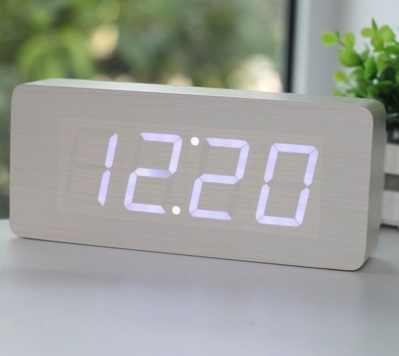 Wood Grain LED Alarm Clock - $36 | The Gadget Flow