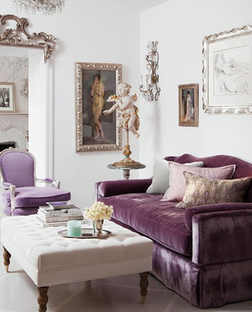 Adorable Living Room Inspiration With One Purple Fabric Sofa Feat Pillows  Near White Fabric Ottoman Coffee Table On The Accessories And White Wall  Paint ... Part 67