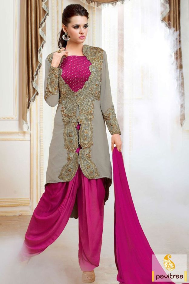 Style and fashion will reach heights with this grey dark pink chiffon patiala salwar suit. It is awesome with patch and cut worked kameez and curved patiala. #pavitraa, #salwarsuit, #salwarkameez, #patialasalwarsuit, #punjabisalwarsuit, #partywearsalwarsuit, #printedsalwarsuit, #embroiderysalwarsuit, #designersalwarsuit, #newfashion, #pajamasuit http://www.pavitraa.in/store/patiala-salwar-suit/ Contact Us : 917698234040