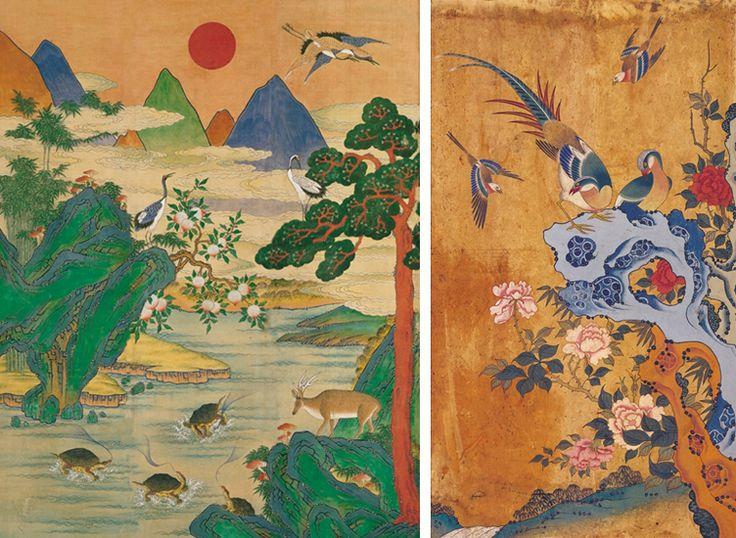 Korean folk painting - birds, Ten longevity symbol and peony folk painting of Korea