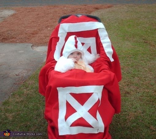 Jessica: Mallory is wearing a chicken costume that was originally purchased at Old Navy several years ago for around $16. For the Barn stroller cover, I bought 5 yrds of red...