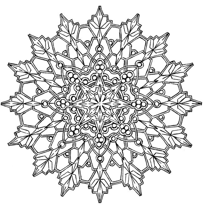 434 best seasonal coloring pages images on pinterest   coloring ... - Mandala Snowflakes Coloring Pages