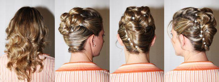 Hochsteckfrisur mit Blumenband für die Braut mit blonden Haaren