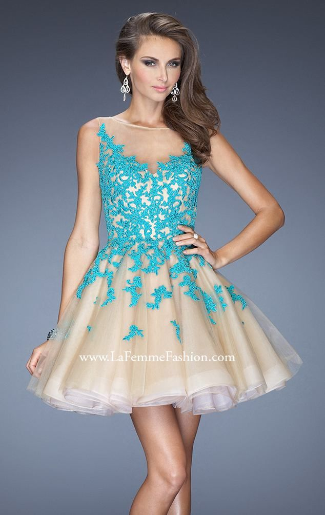 La Femme 20399 by La Femme // Nude and Blue. Gorgeous #prom color combos.