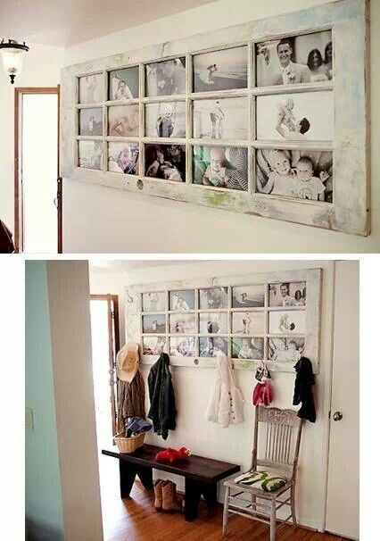 French door as a massive picture frame with coat hooks below. Great idea for a long entryway wall.