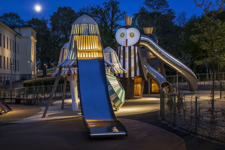/Kristinebergs slottspark/Kristineberg palace park- Lighting design by Black Ljusdesign/ Lighting Design - Architecture - Lighting - Public spaces - Playground - Playful - Contrasts- Playscapes- Landscape Architecture-