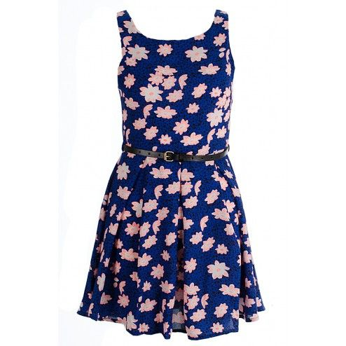 Isabella Blue And Coral Floral Print Skater Dress LADIES DRESS BUY IT NOW £18.00 AT www.fuchia.co.uk