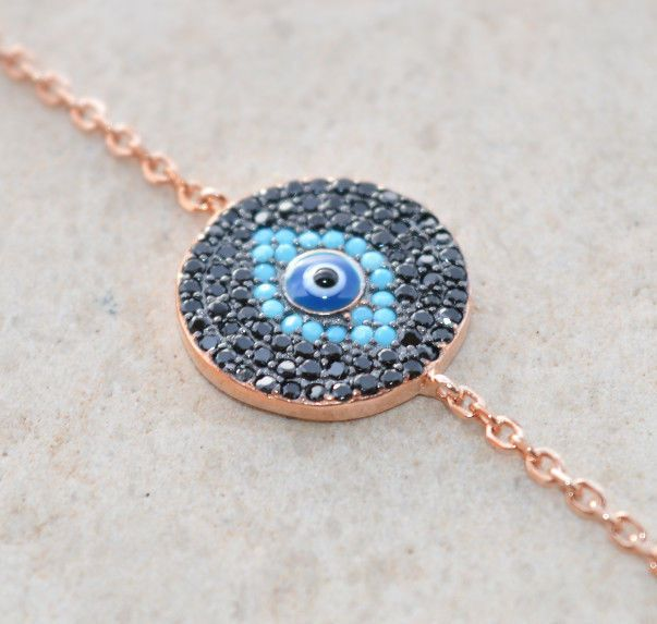 Sterling Silver 925 Bracelet Rose Gold Plated Blue Turquoise Zircon CZ