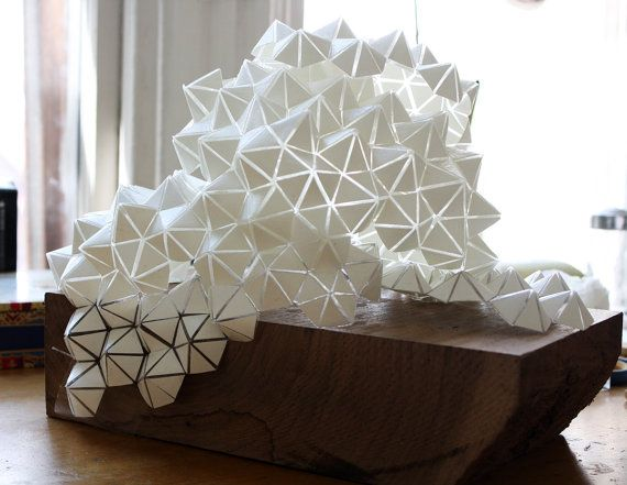 White Geodesic Pendant Lamp/Sculpture one of a kind by BrittaGould