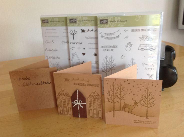 Stampin up Stempel ... Wünsche zum Fest , Aus dem Häusschen, Weiße Weihnacht ( Karten 9,5 cm )