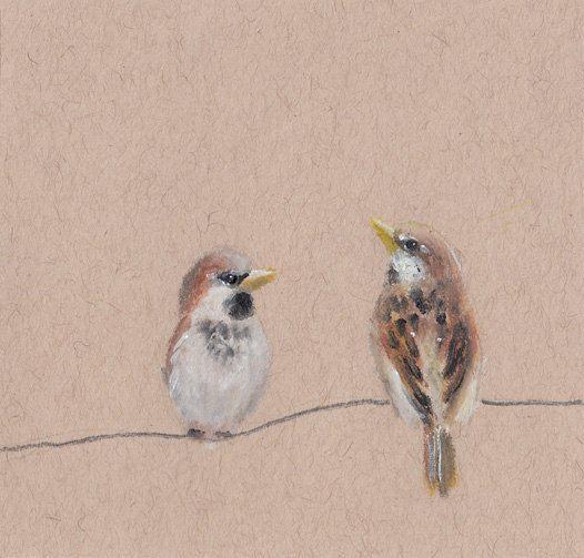 Original Tiny Sparrow Drawing, Pastel, Bird Drawing, Nursery Wall Art, Home Decor