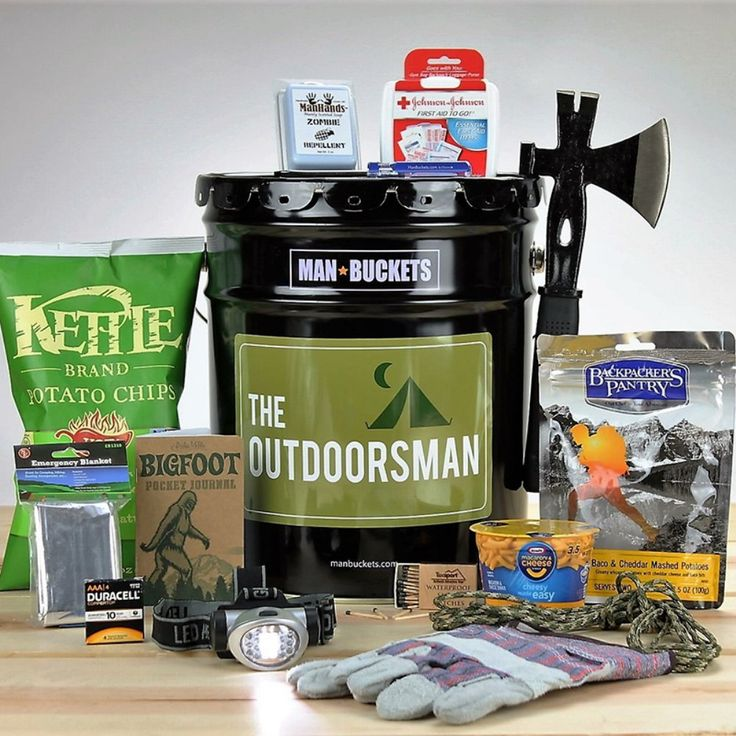 ManBuckets The Outdoorsman Gift Basket - Make sure your man is properly outfitted for his next camping trip with the ManBuckets The Outdoorsman Gift Basket. This manly gift basket is in fact ...