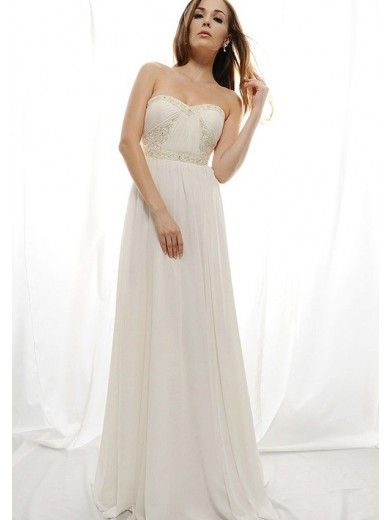 A-Line Strapless Sweep Trailing Beadings Bust  Chiffon Beach Wedding Gowns