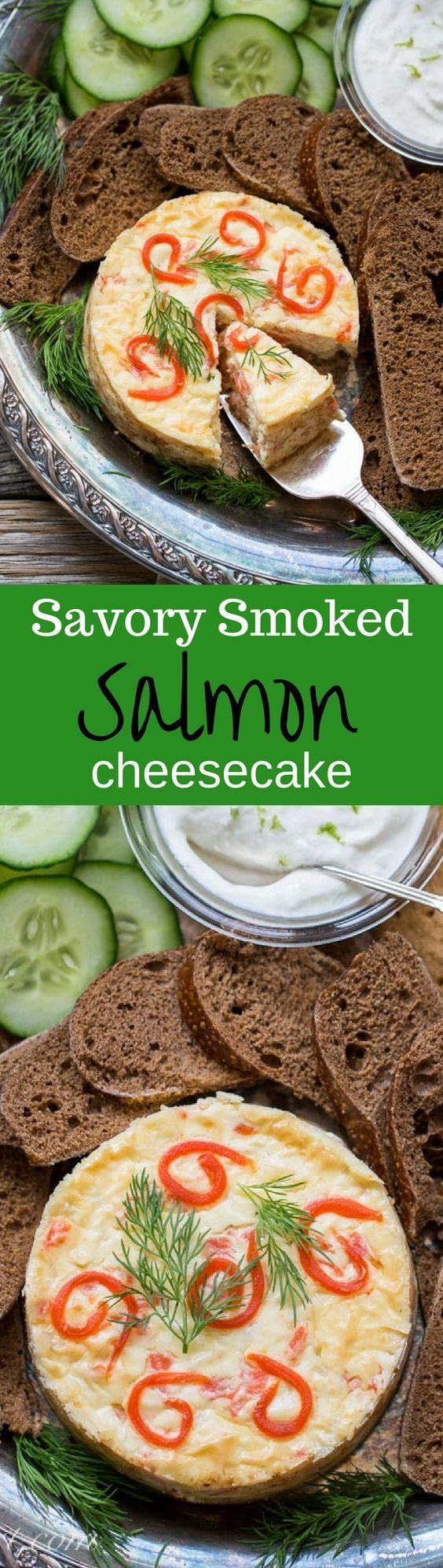 Savory Smoked Salmon Cheesecake with Horseradish-Lime Cream | www.savingdessert.com