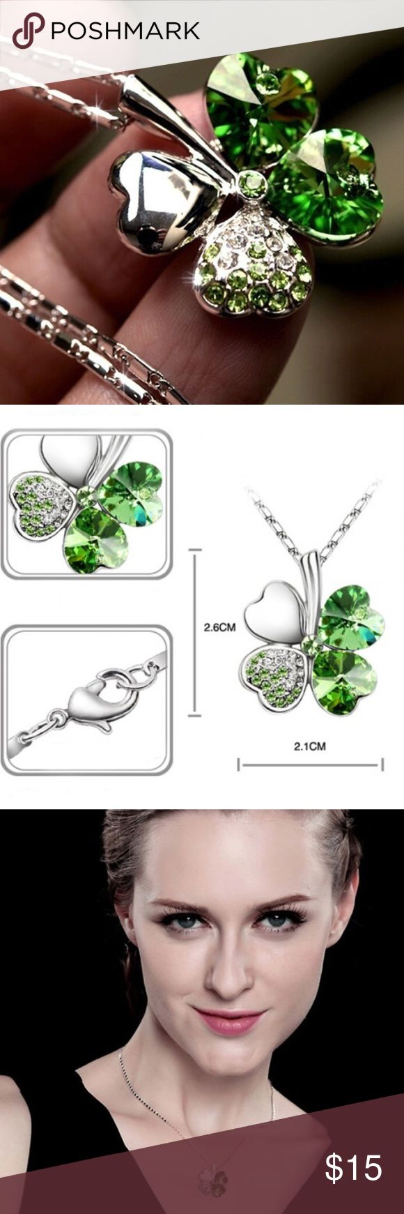 Four Leaf Clover Necklace- Green Four leaf clover necklace is beautifully set with heart shaped crystals and 23 gradual color Czech crystals. Designed with 4 heart shaped clover leaves in wishing best luck to the wearer. Intricate high polish creates a glamorous reflection and makes this four leaf clover necklace seek attention. Material: Platinum plated, Gem type: CZ Austrian crystal, Chain length: 43cm, NWT Jewelry Necklaces