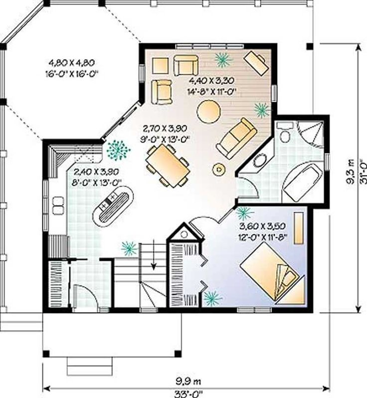 840 sq ft. Needs finished basement for extra bedrooms ...
