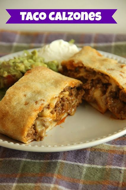 Taco Calzones Recipe ~ Super Simple... refrigerated pizza dough, taco seasoned ground beef, and cheese.