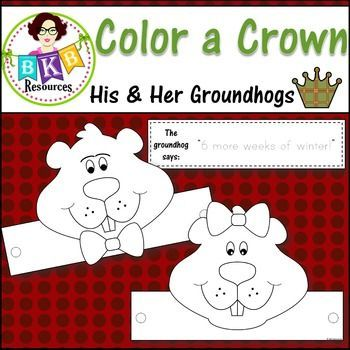"What student doesn't love decorating and wearing a crown of their own? Students will have fun coloring their own groundhog crown and deciding if the groundhog saw its shadow. There are two groundhog crown templates included. A girl groundhog crown template and A boy groundhog crown template. Also included are 3 crown band templates: one for students to write their name, one that says ""6 more weeks of winter!"" and one that says ""Spring is on its way!"""