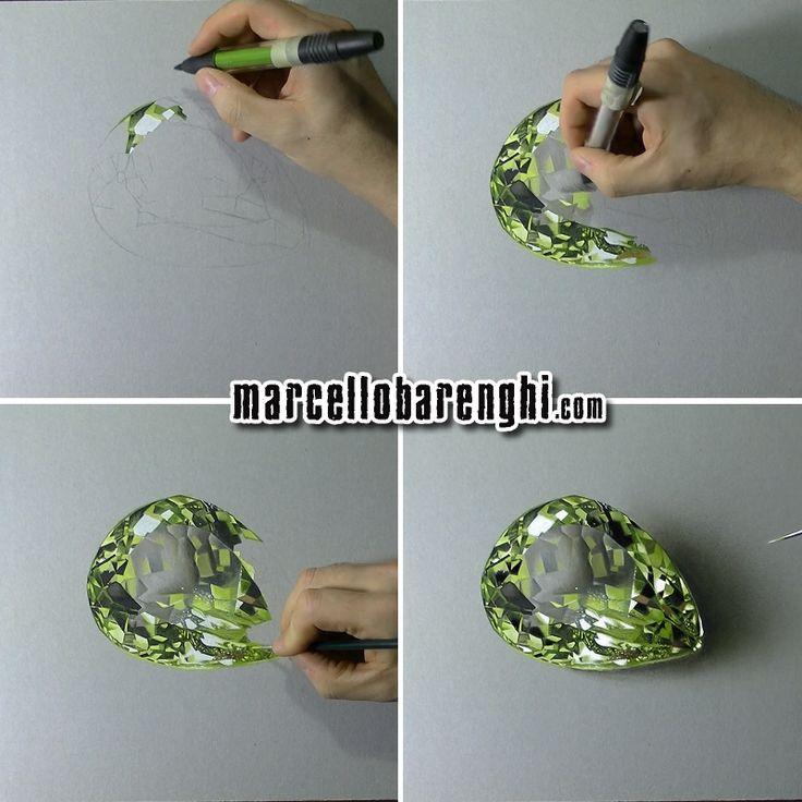 Marcello Barenghi: A lemon quartz - drawing phases