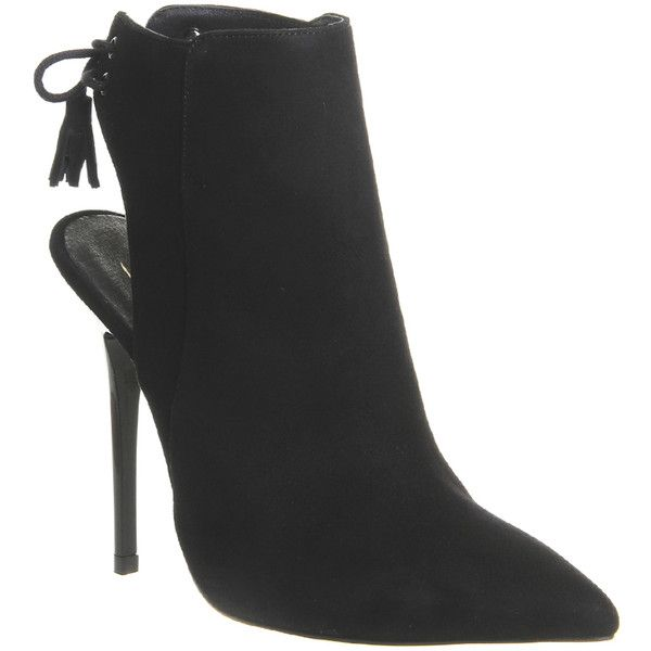 Office Intrigue Lace Back Shoe Boots ($51) ❤ liked on Polyvore featuring shoes, boots, ankle booties, ankle boots, black suede, women, black high heel booties, black ankle boots, black leather bootie and leather ankle boots