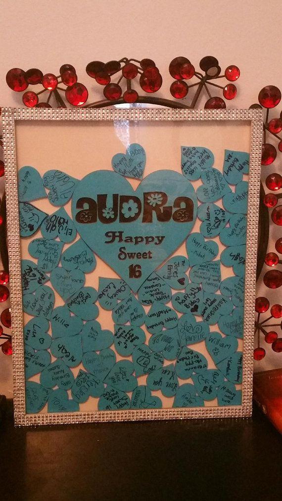 Guest Book Alternative Shadow Box, Sign & Heart Box for 50 guest, birthday guest…  https://www.birthdays.durban