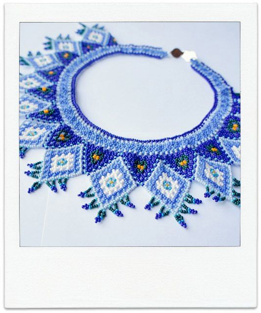 XOCHIL CARIBE Mexican Huichol Hand-Beaded Tribal Collar Necklace with Silver Clasp via Etsy