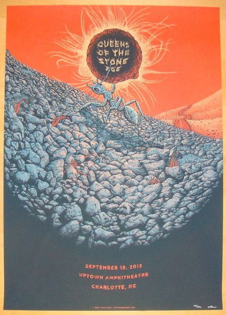 """Queens of the Stone Age - silkscreen concert poster (click image for more detail) Artist: Neal Williams Venue: Uptown Amphitheatre Location: Charlotte, NC Concert Date: 9/19/2013 Size: 18"""" x 24"""" Editi"""