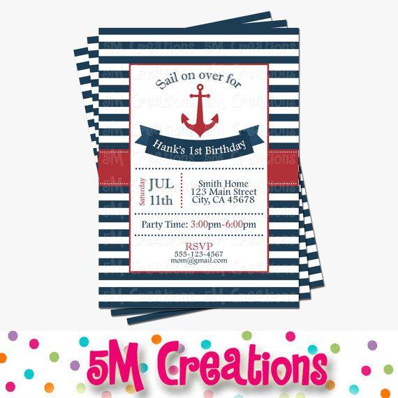 Nautical Birthday Party Invitation Anchor Birthday by 5Mcreations
