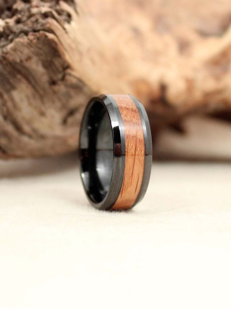 Black Ceramic Ring With Whiskey Barrel Oak Wooden Ring Whiskey Barrels