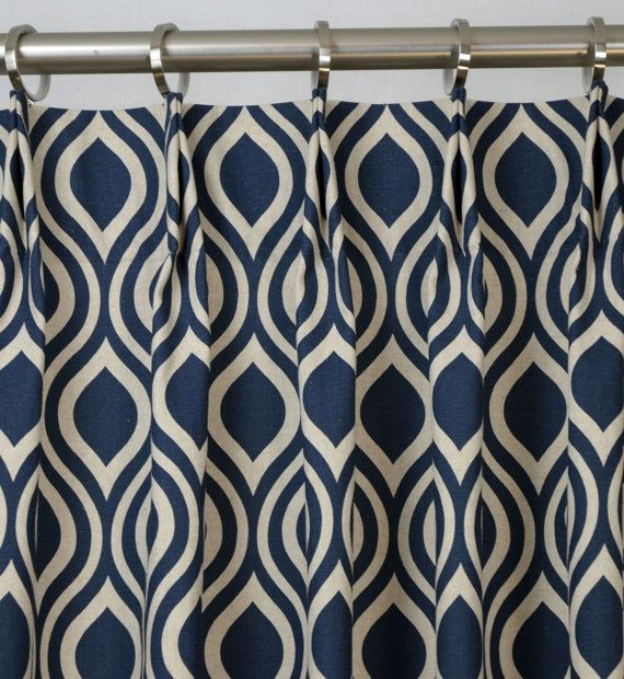 Wonderful Pair Of Pinch Pleat Top Curtains In Nicole Indigo Laken Navy Blue Natural  Light Beige Fabric