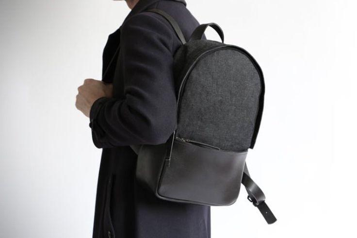 Ikku Black & Blue Handcrafted Leather Backpack