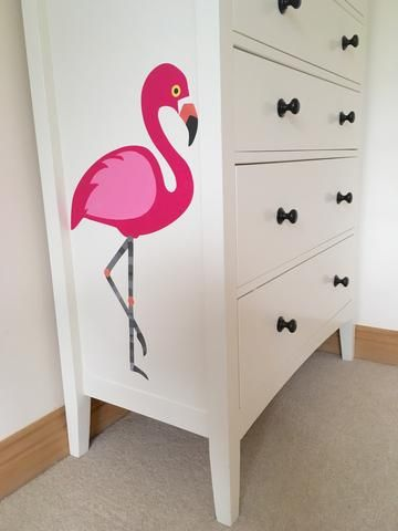 pink flamingo decal, pink flamingo wall sticker, pink decal, pink wall sticker, flamingo wall art, pink wall art, pink girls room decor, bird wall sticker, bird decal, flamingo,