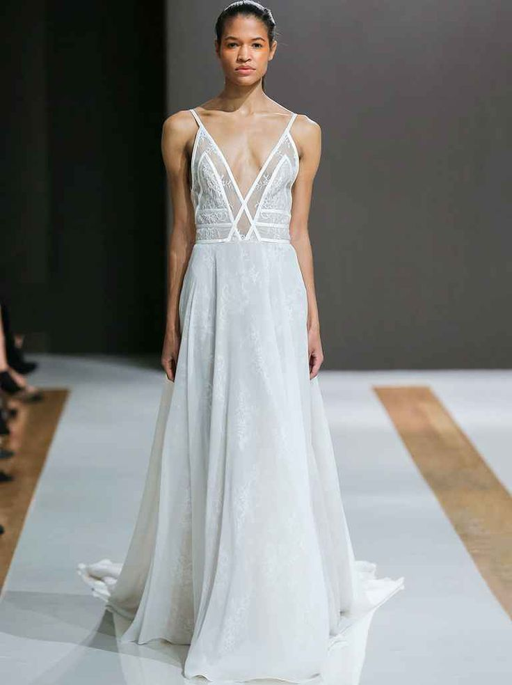 Mark Zunino Fall 2018.wedding dresses with crossover bodice and straps