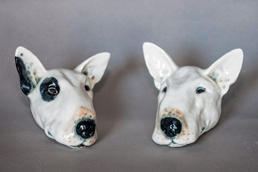 By Lesley Martin BULL TERRIER HEADS. Porcelain. Height approx. 9cm. Price £45 each includes P&P (UK)