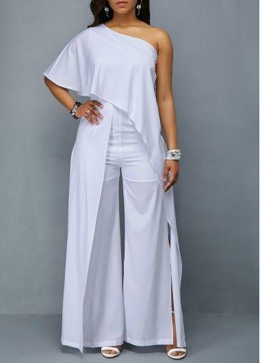 fb13f78af65 Overlay One Shoulder Side Slit White Jumpsuit