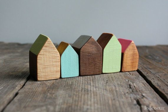 Miniature Wooden House, Hand Painted Wood House, Small Wooden House, Modern Wood Decor, Decorative Little Wooden House