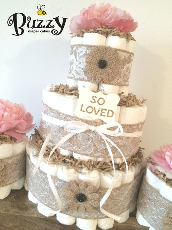Pink Burlap and Lace Diaper Cake for baby girl baby shower centerpiece