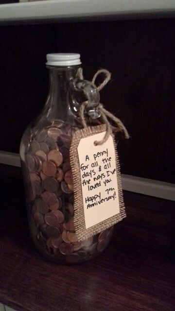 7th Wedding anniversary gift with pennies
